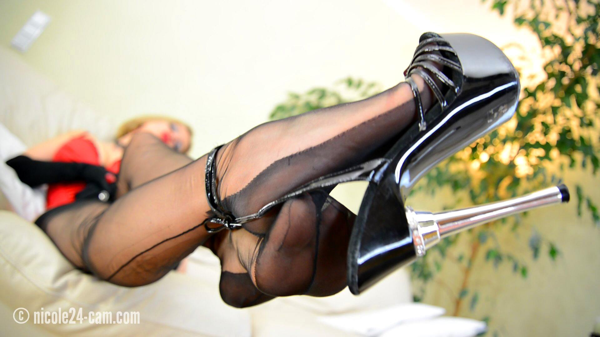 Dangling in High Heel Sandals and Stockings - Nicole24