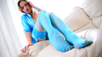 Legs and Feet Teasing in blue stockings